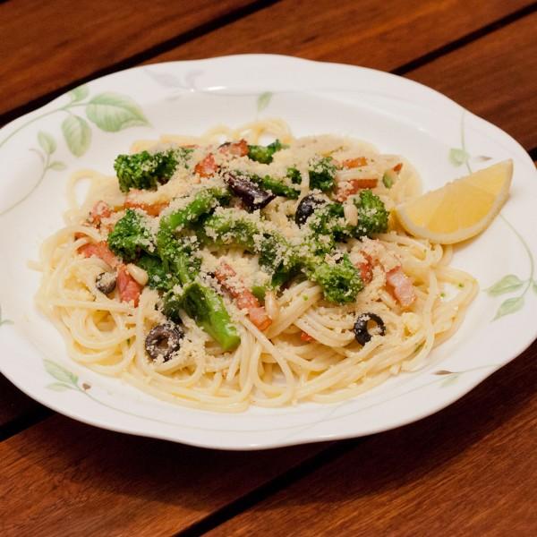 菜の花とベーコンのスパゲティ